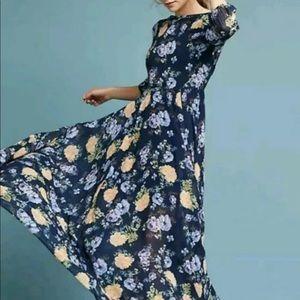 Yumi Kim Maxi Dress blue Floral Garden Fit Flare S